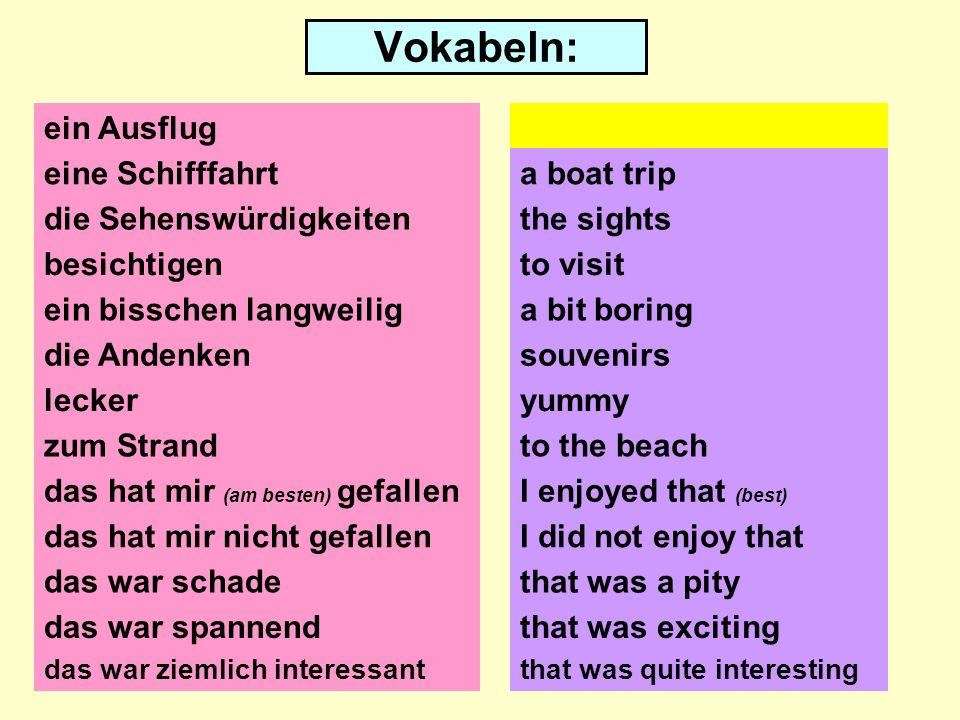 Vokabeln: ein Ausflug eine Schifffahrt die Sehenswürdigkeiten besichtigen ein bisschen langweilig die Andenken lecker zum Strand das hat mir (am besten) gefallen das hat mir nicht gefallen das war schade an excursion/a trip a boat trip the sights to visit a bit boring souvenirs to the beach I enjoyed that (best) I did not enjoy that that was a pity das war spannendthat was exciting das war ziemlich interessantthat was quite interesting