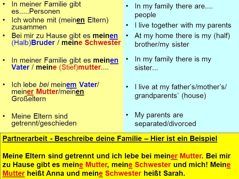 In meiner Familie gibt es fünf Personen. Ich wohne mit meiner Mutter, meinem Vater und meinem Bruder zusammen. Wir haben auch einen Hund, der Malcolm