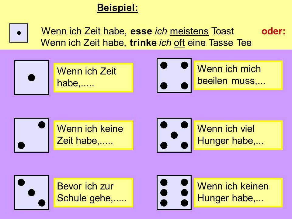 Das Würfelspiel (the dice game) Du kannst mit deinem Partner/deiner Partnerin spielen Du brauchst einen Würfel Würfel und schreibe die Nummer auf und dann mache einen Satz (throw the die and write down the number and make a sentence).