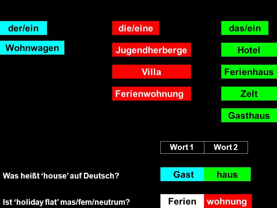 der/eindie/einedas/ein Wohnwagen JugendherbergeHotel Ferienhaus Zelt Villa Was heißt guest auf Deutsch.