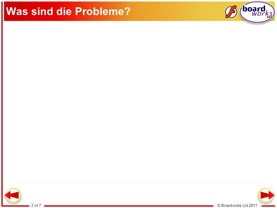 © Boardworks Ltd 20113 of 7 Was sind die Probleme?