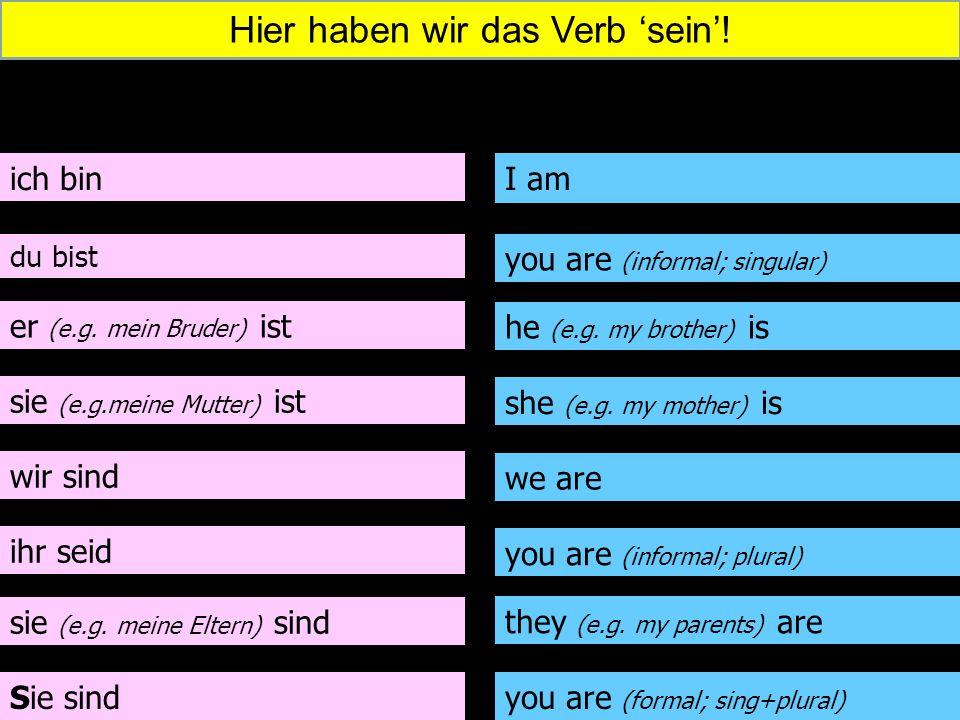 ich bin du bist er (e.g. mein Bruder) ist sie (e.g.meine Mutter) ist wir sind ihr seid sie (e.g. meine Eltern) sind Sie sind I am you are (informal; s