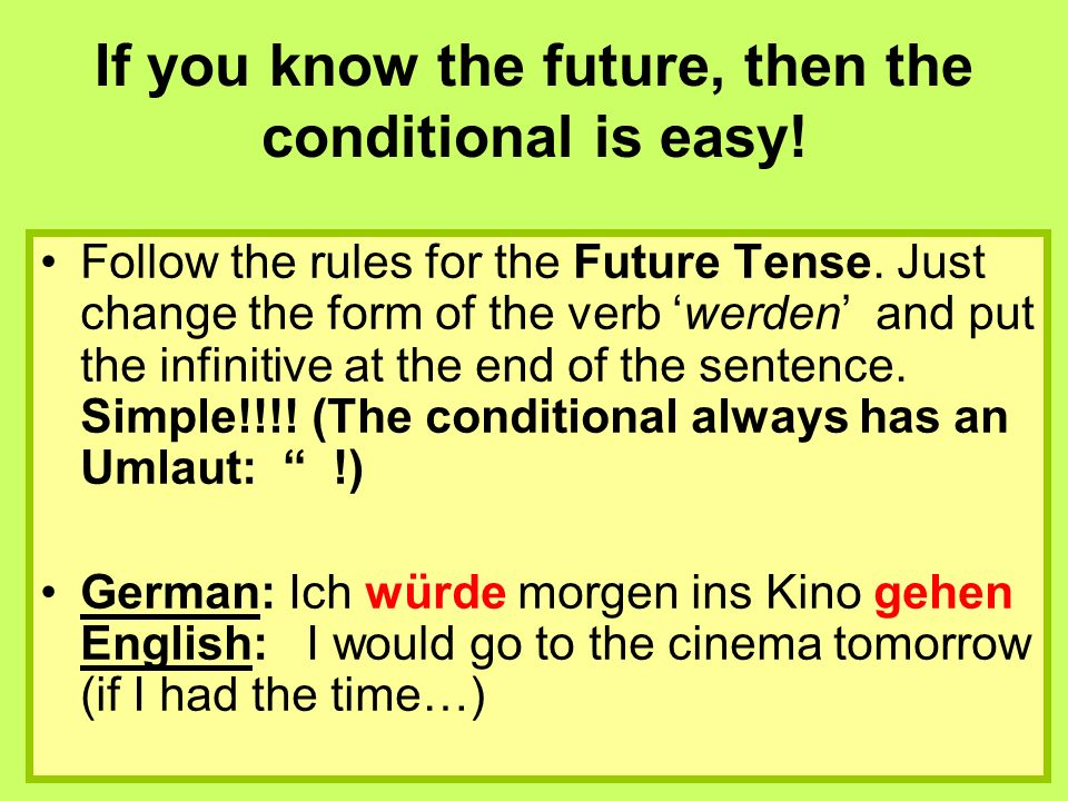 If you know the future, then the conditional is easy.