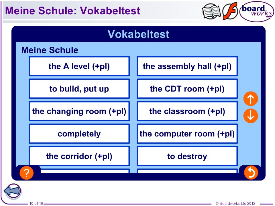 © Boardworks Ltd 201210 of 10 Meine Schule: Vokabeltest
