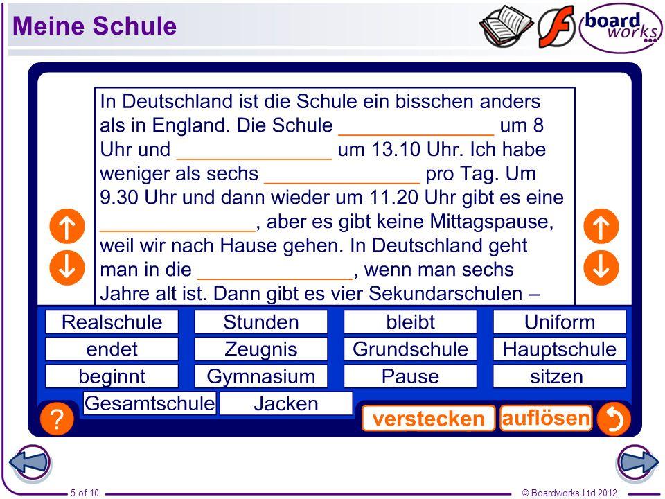 © Boardworks Ltd 20126 of 10 Meine Schule