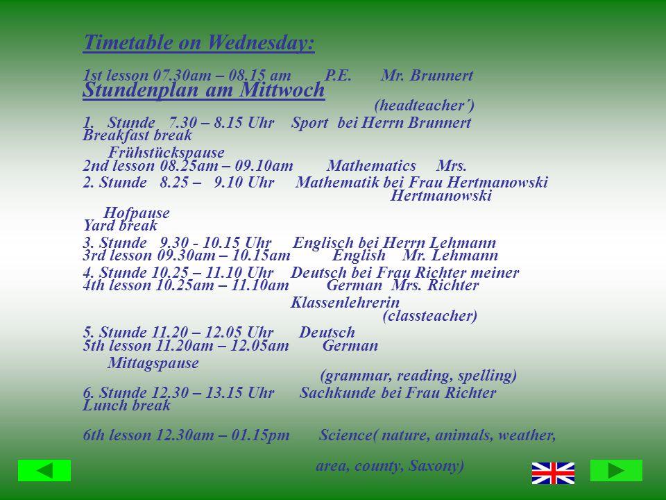 Stundenplan am Mittwoch 1.Stunde 7.30 – 8.15 Uhr Sport bei Herrn Brunnert Frühstückspause 2.