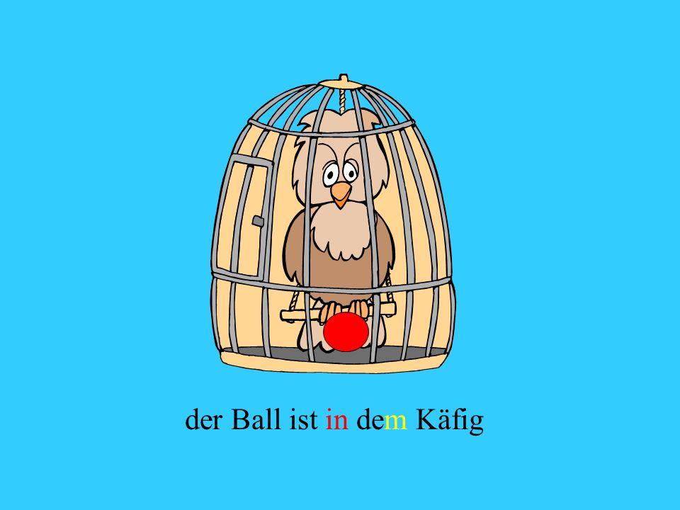 der Ball ist in dem Käfig