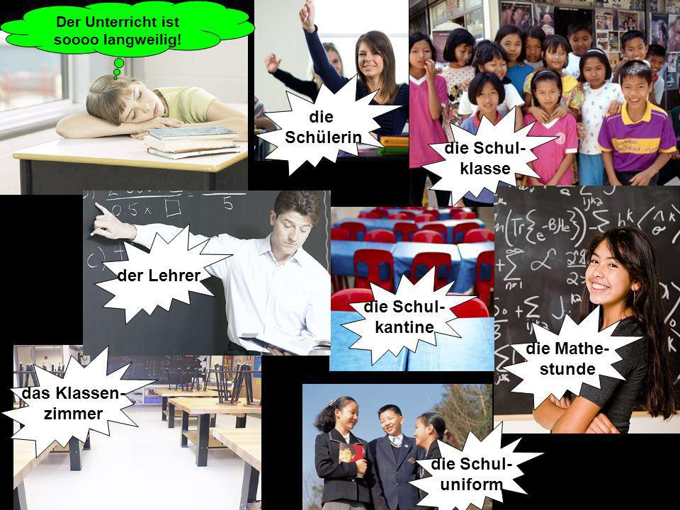 die Schul- kantine die Mathe- stunde die Schülerin die Schul- uniform die Schul- klasse der Lehrer Der Unterricht ist soooo langweilig! das Klassen- z