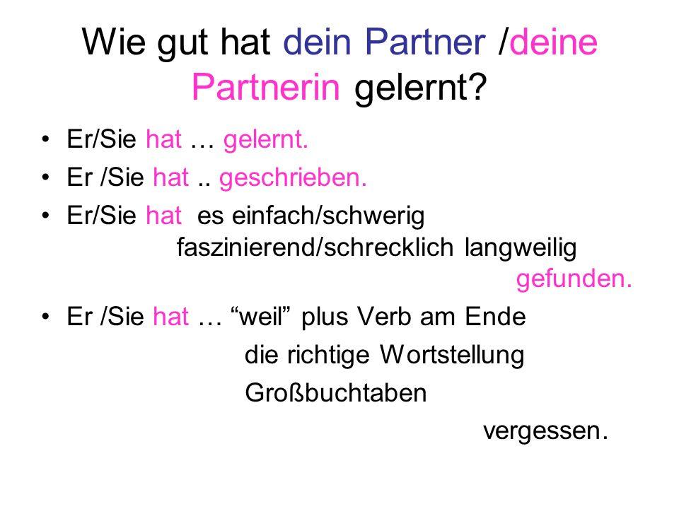 Wie gut hat dein Partner /deine Partnerin gelernt? Er/Sie hat … gelernt. Er /Sie hat.. geschrieben. Er/Sie hat es einfach/schwerig faszinierend/schrec