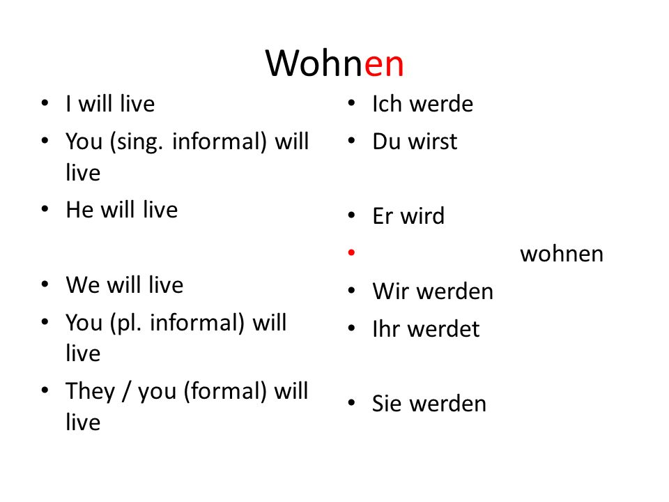 Wohnen I will live You (sing. informal) will live He will live We will live You (pl. informal) will live They / you (formal) will live Ich werde Du wi