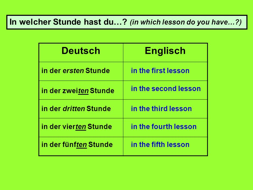 DeutschEnglisch in der ersten Stunde in der zweiten Stunde in der dritten Stunde in der vierten Stunde in der fünften Stunde in the first lesson in the second lesson in the third lesson in the fourth lesson in the fifth lesson In welcher Stunde hast du….