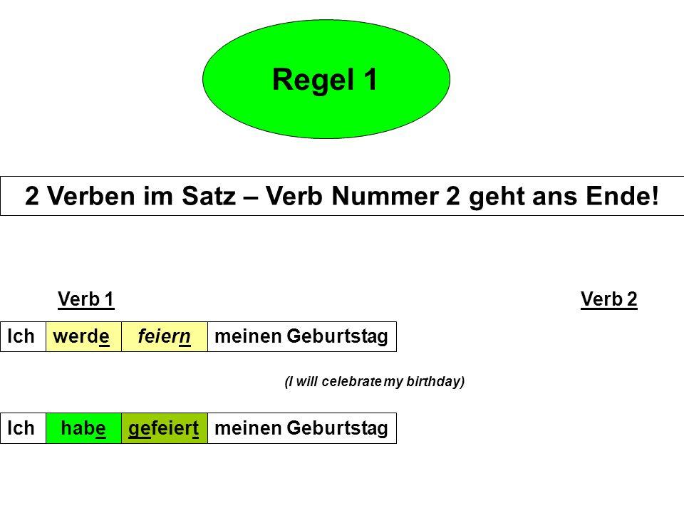 Regel 6 subordinating conjunctions weil, dass, wenn,obwohl mit 2 Verben –Verb1 geht ans Ende!!.