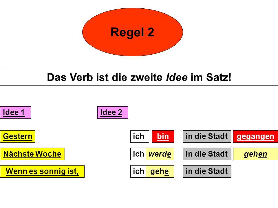 Regel 2 Das Verb ist die zweite Idee im Satz.