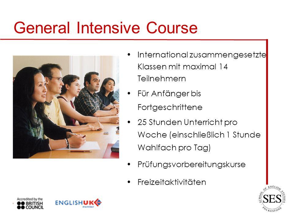 General Intensive Course International zusammengesetzte Klassen mit maximal 14 Teilnehmern Für Anfänger bis Fortgeschrittene 25 Stunden Unterricht pro Woche (einschließlich 1 Stunde Wahlfach pro Tag) Prüfungsvorbereitungskurse Freizeitaktivitäten
