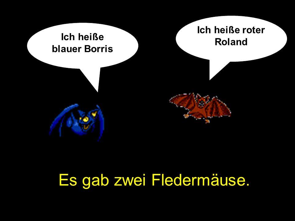 Es gab zwei Fledermäuse. Ich heiße blauer Borris Ich heiße roter Roland