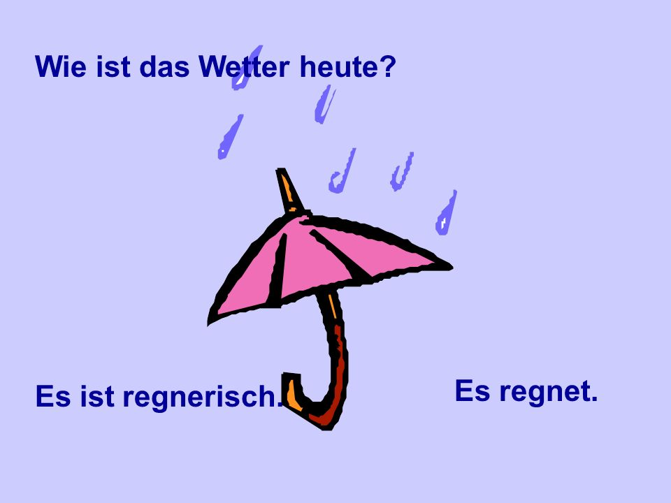 Wie ist das Wetter heute? Das Wetter ist schlecht.