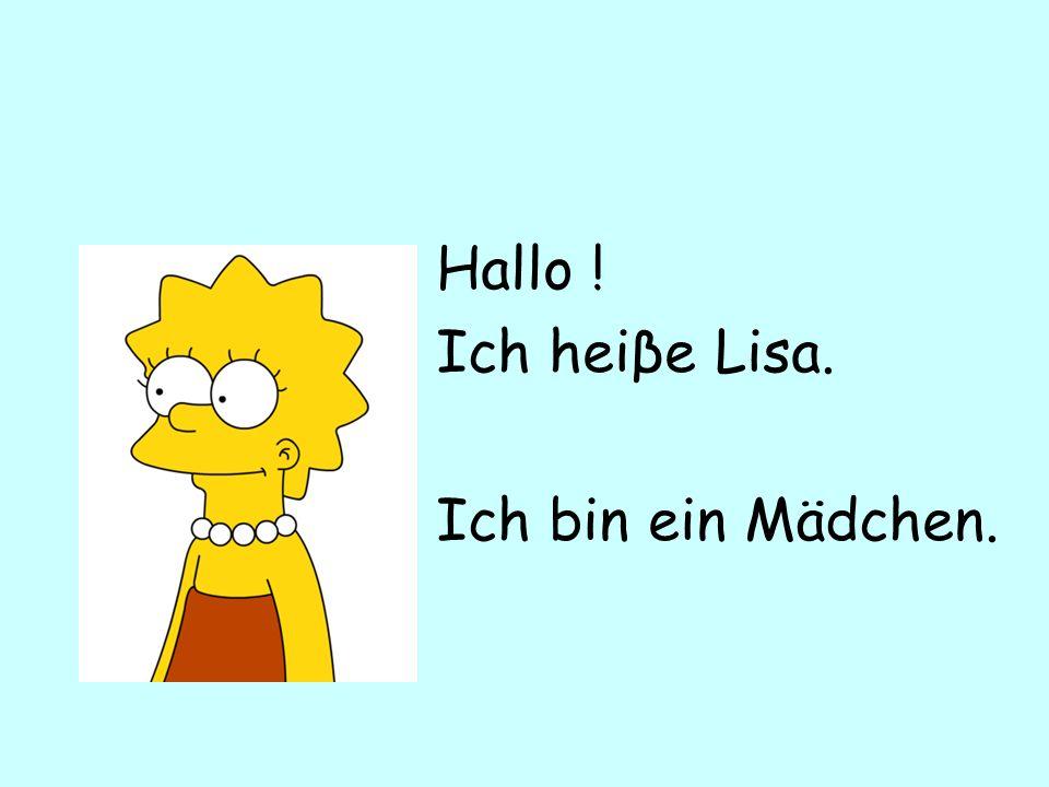 Hallo ! Ich heiβe Lisa. Ich bin ein Mädchen.