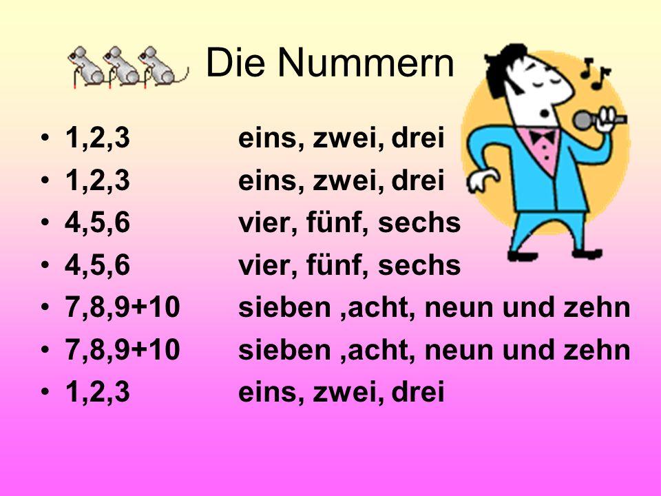 Die Nummern 1,2,3 4,5,6 7,8,9+10 1,2,3 fünf dreivier acht zwei sieben neun sechs zehn eins