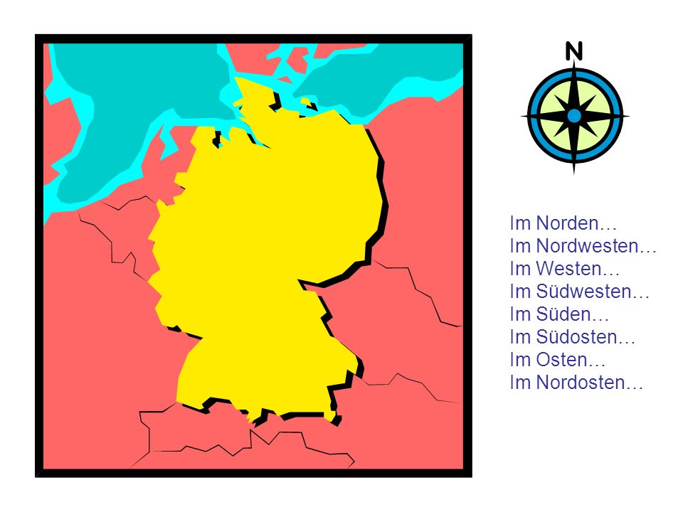 Im Norden… Im Nordwesten… Im Westen… Im Südwesten… Im Süden… Im Südosten… Im Osten… Im Nordosten…