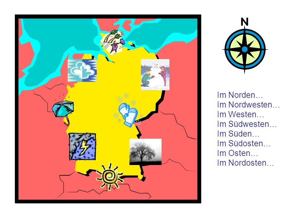 Im Norden Im Nordosten Im Osten Im Südosten Im Süden Im Südwesten Im Westen Im Nordwesten Wie sagt man auf Deutsch: In the North it is rainy and cold, and it is often very windy.