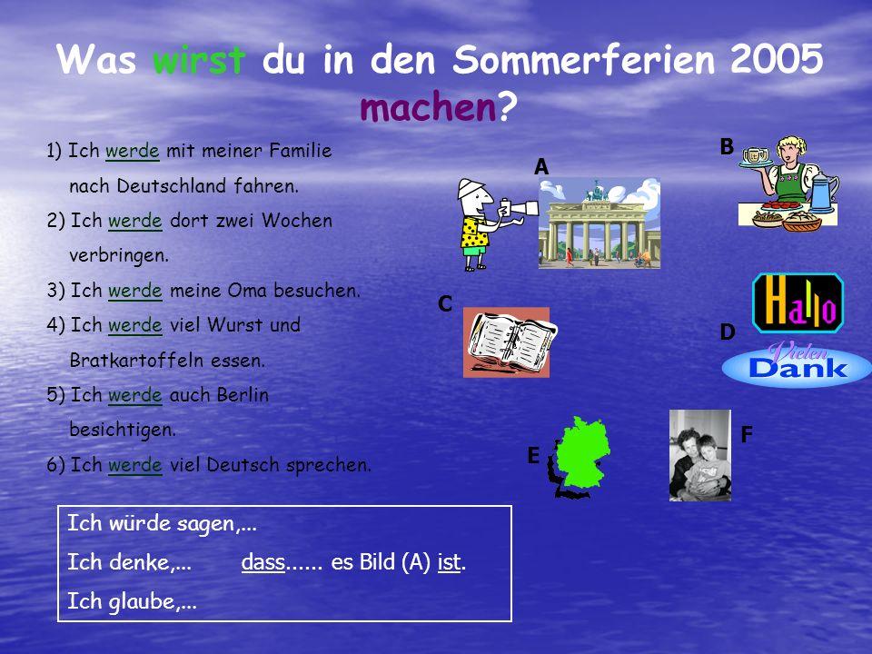Was wirst du in den Sommerferien 2005 machen? 1) Ich werde mit meiner Familie nach Deutschland fahren. 2) Ich werde dort zwei Wochen verbringen. 3) Ic