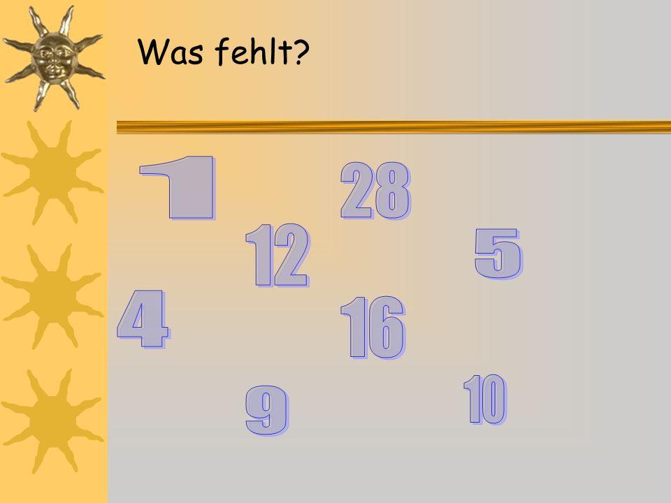 12 6 93 1 2 4 57 8 10 11 halb fünf zwanzig Viertel fünfundzwanzig.