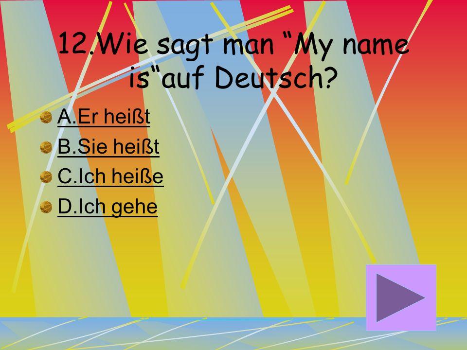 11. Wie sagt man What is your name auf Deutsch? A.Wie schreibt man das? B.Wie heißt er? C.Wie heißt du? D.Wie heißt sie?