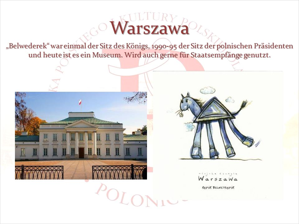 Warszawa Belwederek war einmal der Sitz des Königs, 1990-95 der Sitz der polnischen Präsidenten und heute ist es ein Museum.