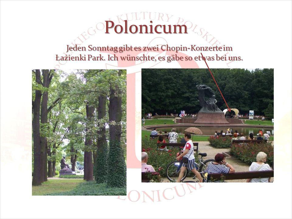 Polonicum Jeden Sonntag gibt es zwei Chopin-Konzerte im Łażienki Park.