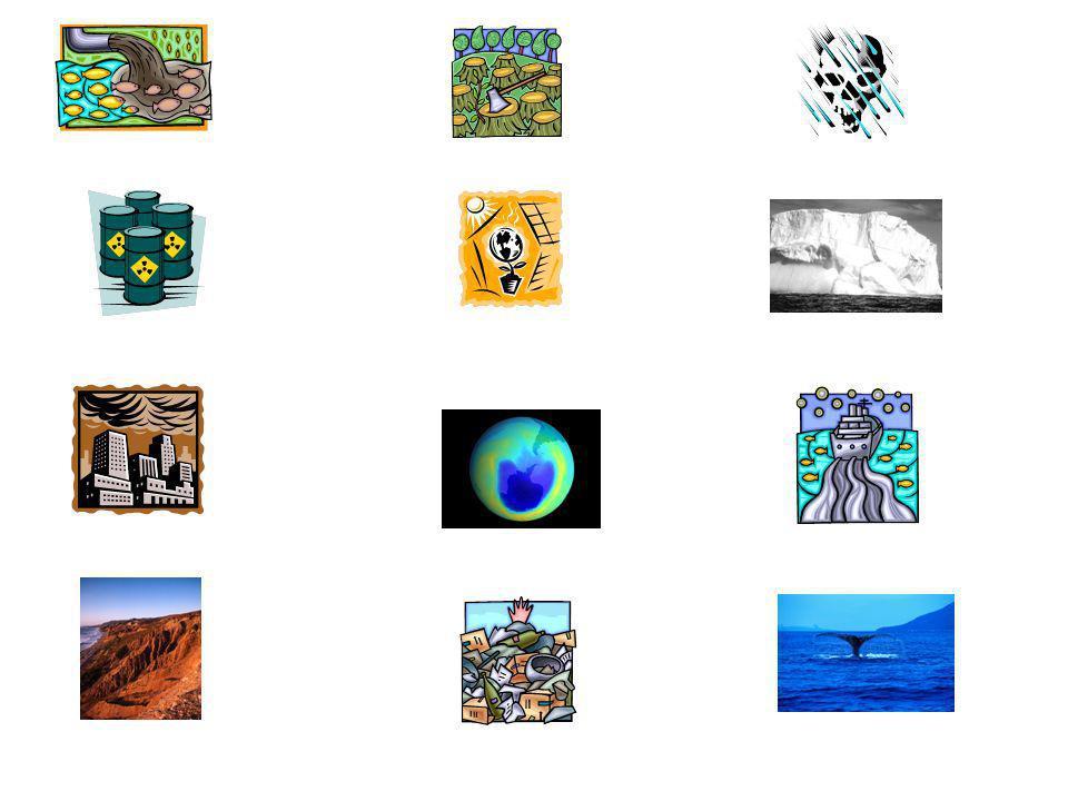 Wasserverschmutzung (f) Atommüllverschmutzung (f) Luftverschmutzung (f) Erosion (f) Waldsterben (nt) globale Erwärmung (f) Treibhauseffekt (m) Ozonloch (nt)Haufen (pl) von Abfall saurer Regen (m) schmelzende Eiskappen (pl)Ölteppiche (pl) Aussterben (nt) von Tierarten, wie Wale