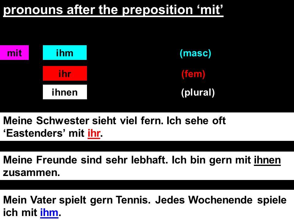 Wie heißt das auf Deutsch. I play with my sister.