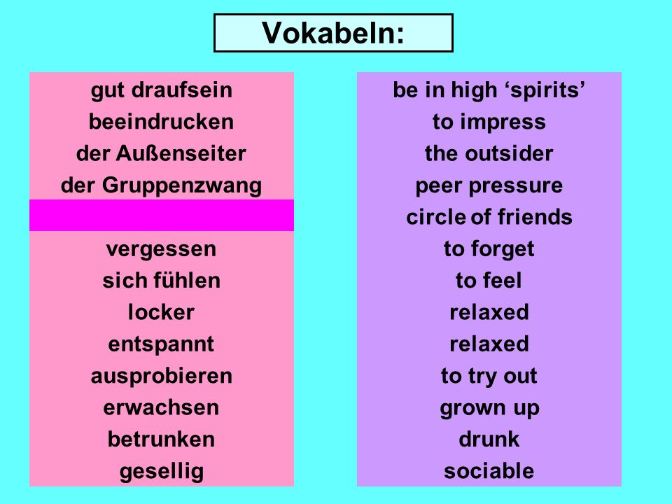 Vokabeln: gut draufsein beeindrucken der Gruppenzwang der Freundeskreis vergessen sich fühlen locker entspannt ausprobieren erwachsen be in high spirits to impress the outsider peer pressure circle of friends to forget to feel relaxed to try out grown up betrunkendrunk geselligsociable
