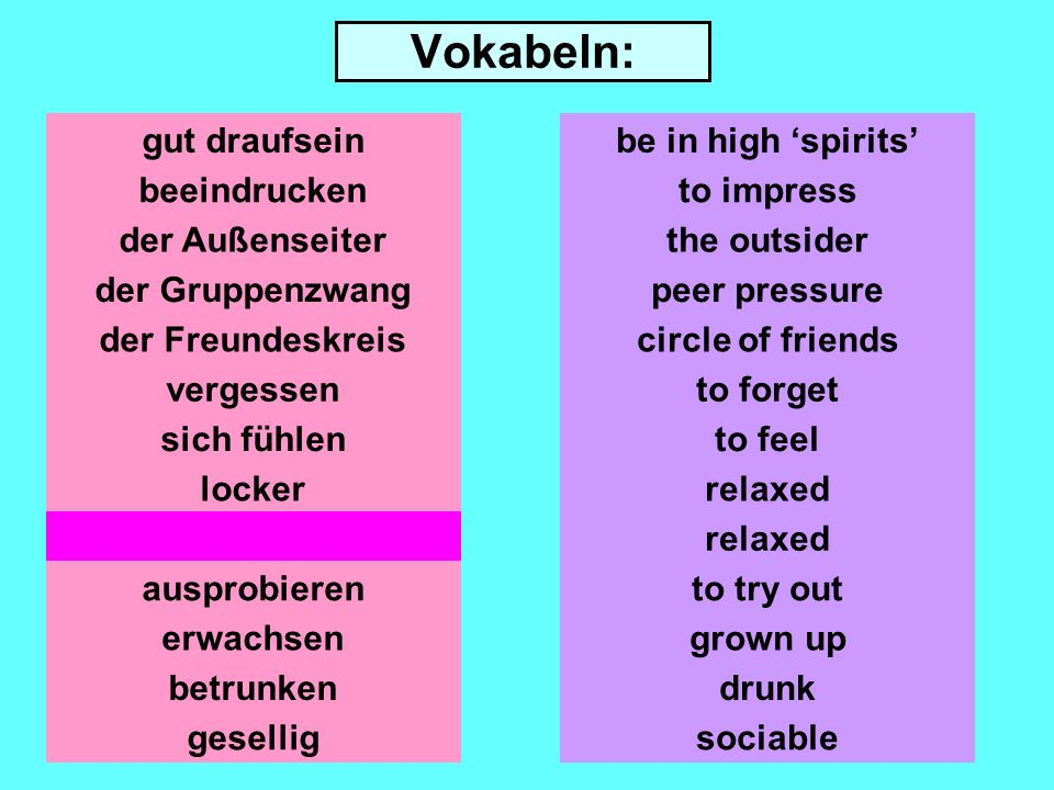 Vokabeln: gut draufsein beeindrucken der Außenseiter der Gruppenzwang der Freundeskreis vergessen locker entspannt ausprobieren erwachsen be in high spirits to impress the outsider peer pressure circle of friends to forget to feel relaxed to try out grown up betrunkendrunk geselligsociable