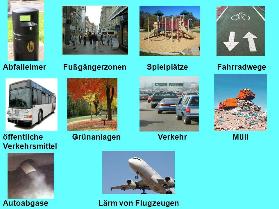 AbfalleimerFußgängerzonenSpielplätzeFahrradwege Lärm von Flugzeugen GrünanlagenVerkehrMüll Autoabgase öffentliche Verkehrsmittel