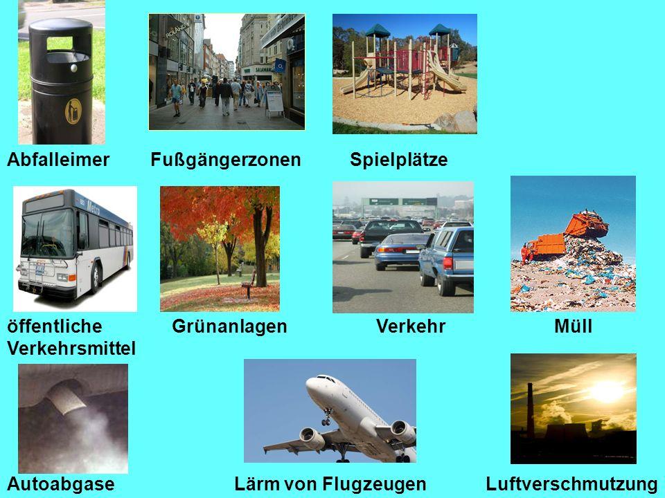 AbfalleimerFußgängerzonenSpielplätze Lärm von Flugzeugen GrünanlagenVerkehrMüll Autoabgase öffentliche Verkehrsmittel Luftverschmutzung