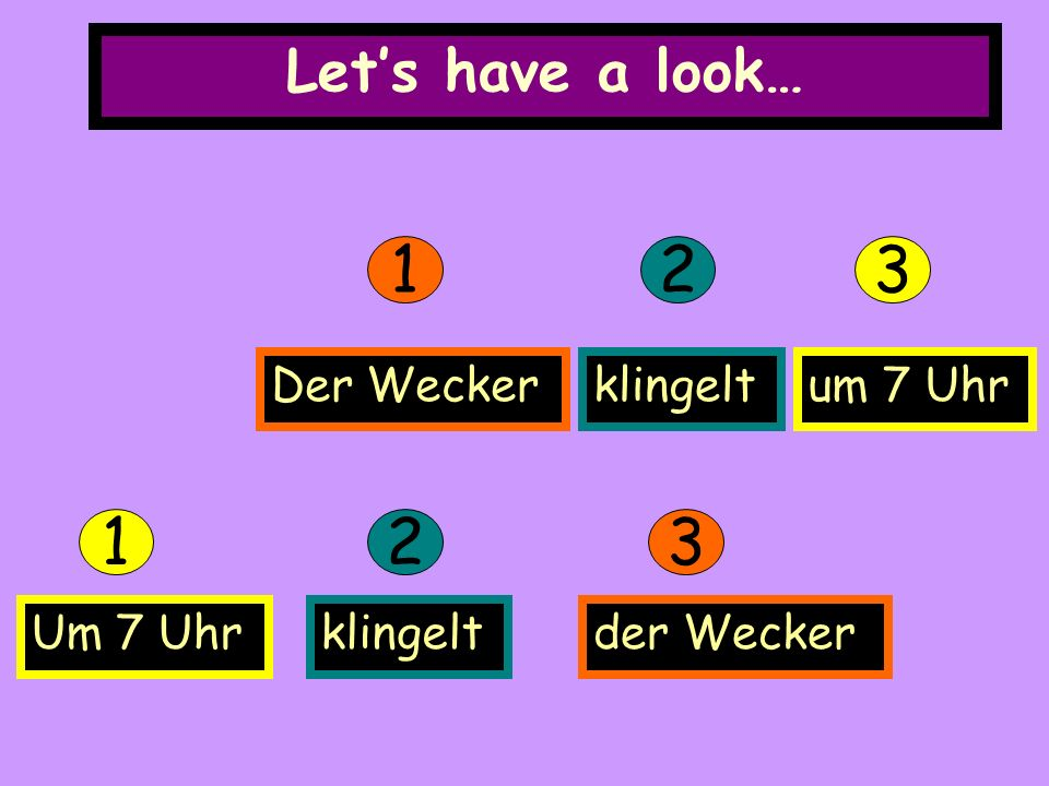 Lets have a look… 123 Der Weckerklingeltum 7 Uhr 123 klingeltder WeckerUm 7 Uhr