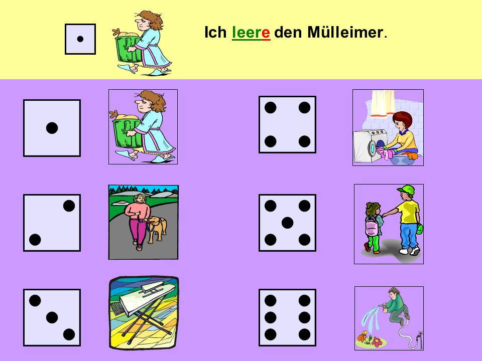 Das Würfelspiel (the dice game) You can play the game in pairs or groups Each pair/group needs one die Take it in turns to throw the die and keep a record of which number you have thrown With every number you throw, you have to say the sentence that goes with it, e.g.