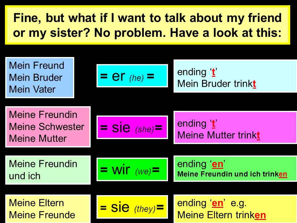 trinken trink trink trink trink trink trink trink e (to drink) en Ich (I) du (you-talking to a young person) er/sie/es (he/she/it) ihr (you- talking t