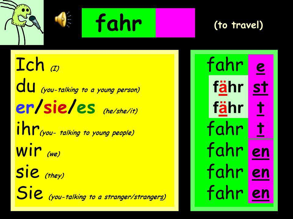 fahren fahr fahr fahr fahr fahr e (to travel) en Ich (I) du (you-talking to a young person) er/sie/es (he/she/it) ihr (you- talking to young people) wir (we) sie (they) Sie (you-talking to a stranger/strangers) st t t en fähr