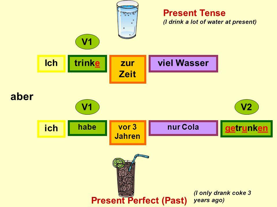 Ichtrinkezur Zeit viel Wasser ich habevor 3 Jahren nur Cola getrunken V1 V2 aber Present Tense Present Perfect (Past) (I drink a lot of water at present) (I only drank coke 3 years ago)