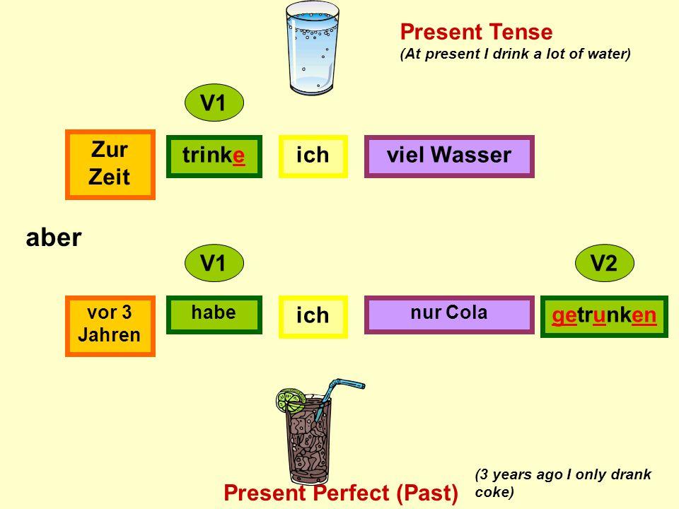 ichtrinke Zur Zeit viel Wasser ich habevor 3 Jahren nur Cola getrunken V1 V2 aber Present Tense Present Perfect (Past) (At present I drink a lot of water) (3 years ago I only drank coke)