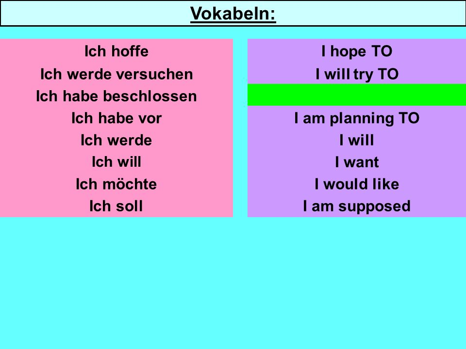 Ich werde versuchen Ich habe beschlossen Ich habe vor Ich werde Ich will Ich möchte Ich soll I will try TO I have decided TO I am planning TO I want I would like I am supposed Ich hoffeI hope TO Vokabeln: