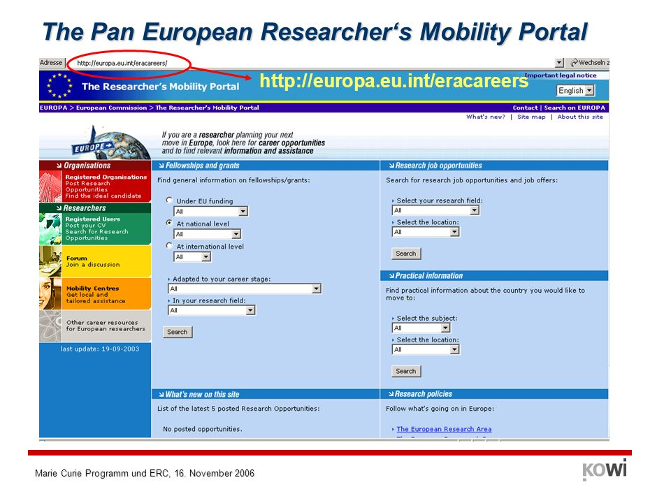 Marie Curie Programm und ERC, 16. November 2006 The Pan European Researchers Mobility Portal http://europa.eu.int/eracareers