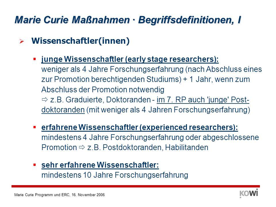 Marie Curie Programm und ERC, 16.November 2006 Grundlagenforschung im 7.