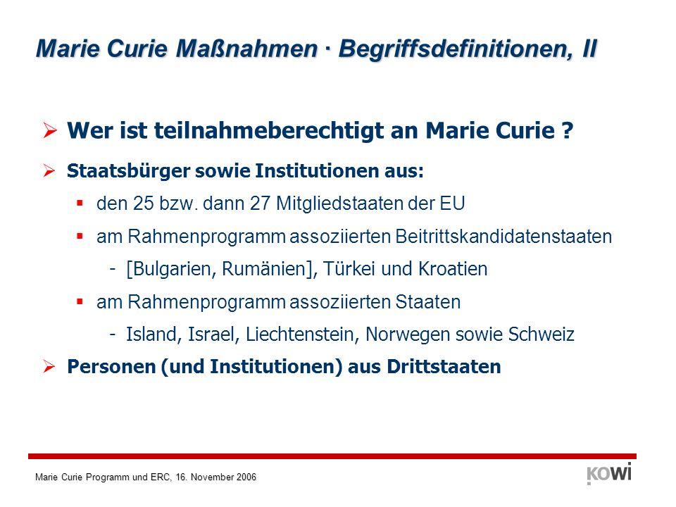 Marie Curie Programm und ERC, 16.November 2006 Marie Curie · Finanzierung im 6.
