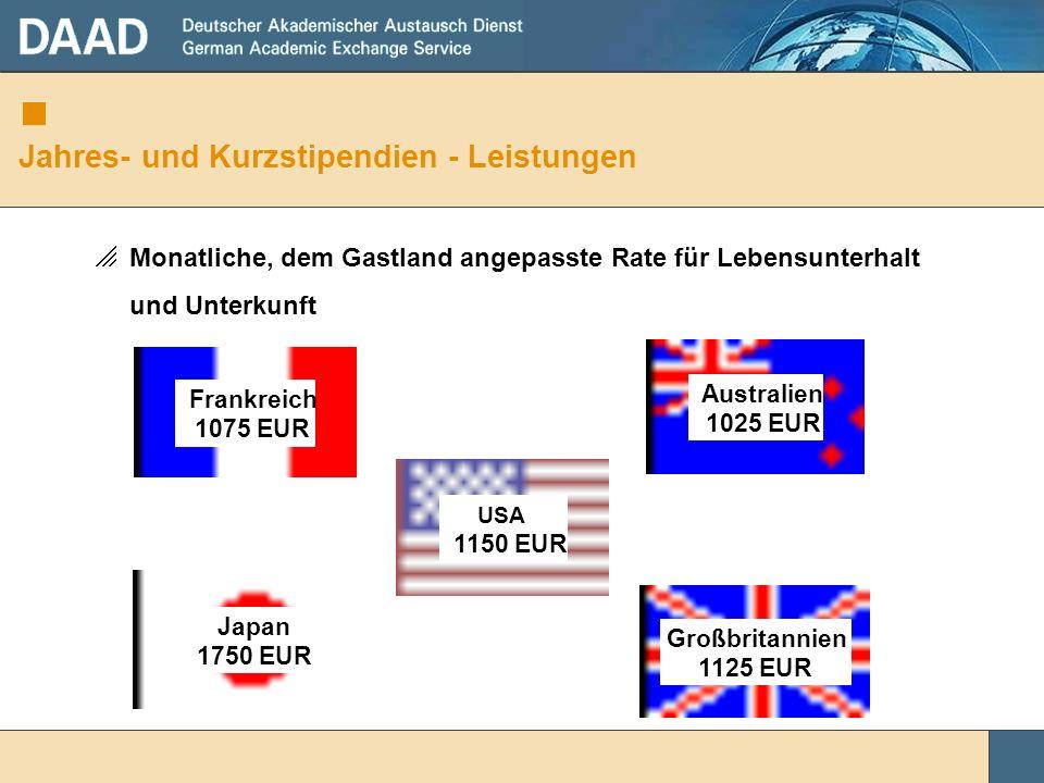 Jahres- und Kurzstipendien - Leistungen Monatliche, dem Gastland angepasste Rate für Lebensunterhalt und Unterkunft Frankreich 1075 EUR Japan 1750 EUR