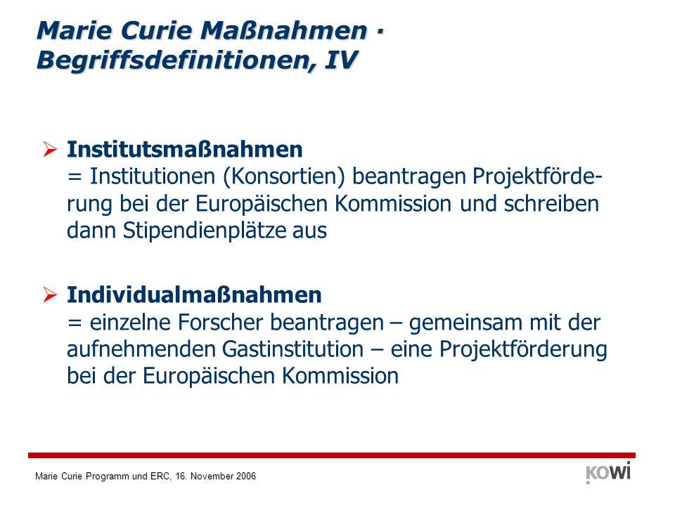 Marie Curie Programm und ERC, 16. November 2006 Institutsmaßnahmen = Institutionen (Konsortien) beantragen Projektförde- rung bei der Europäischen Kom