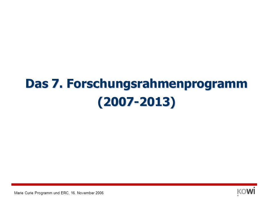Marie Curie Programm und ERC, 16. November 2006 Das 7. Forschungsrahmenprogramm (2007-2013)