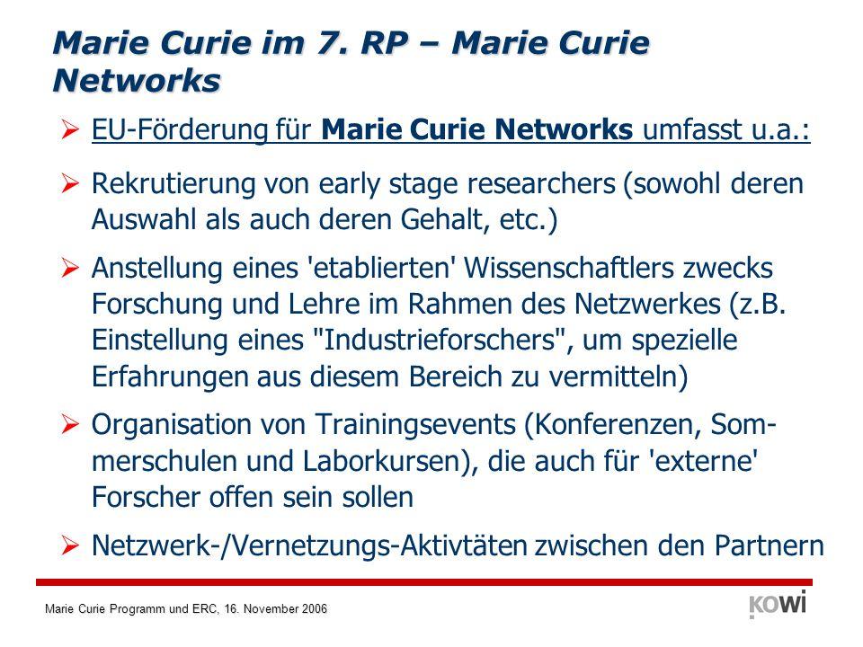 Marie Curie Programm und ERC, 16. November 2006 Marie Curie im 7. RP – Marie Curie Networks EU-Förderung für Marie Curie Networks umfasst u.a.: Rekrut