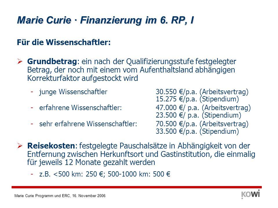 Marie Curie Programm und ERC, 16. November 2006 Marie Curie · Finanzierung im 6. RP, I Für die Wissenschaftler: Grundbetrag: ein nach der Qualifizieru